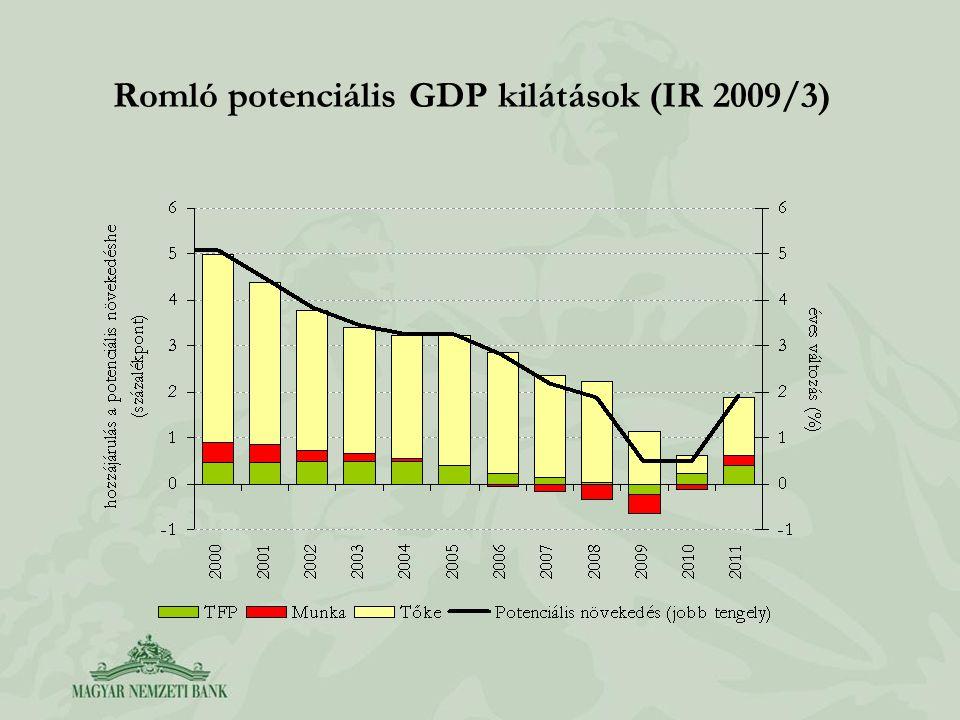 Romló potenciális GDP kilátások (IR 2009/3)