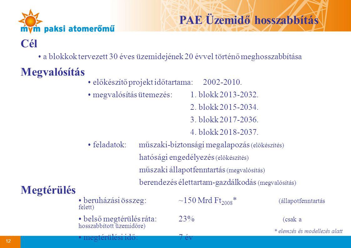 12 Cél a blokkok tervezett 30 éves üzemidejének 20 évvel történő meghosszabbítása Megvalósítás előkészítő projekt időtartama: 2002-2010.