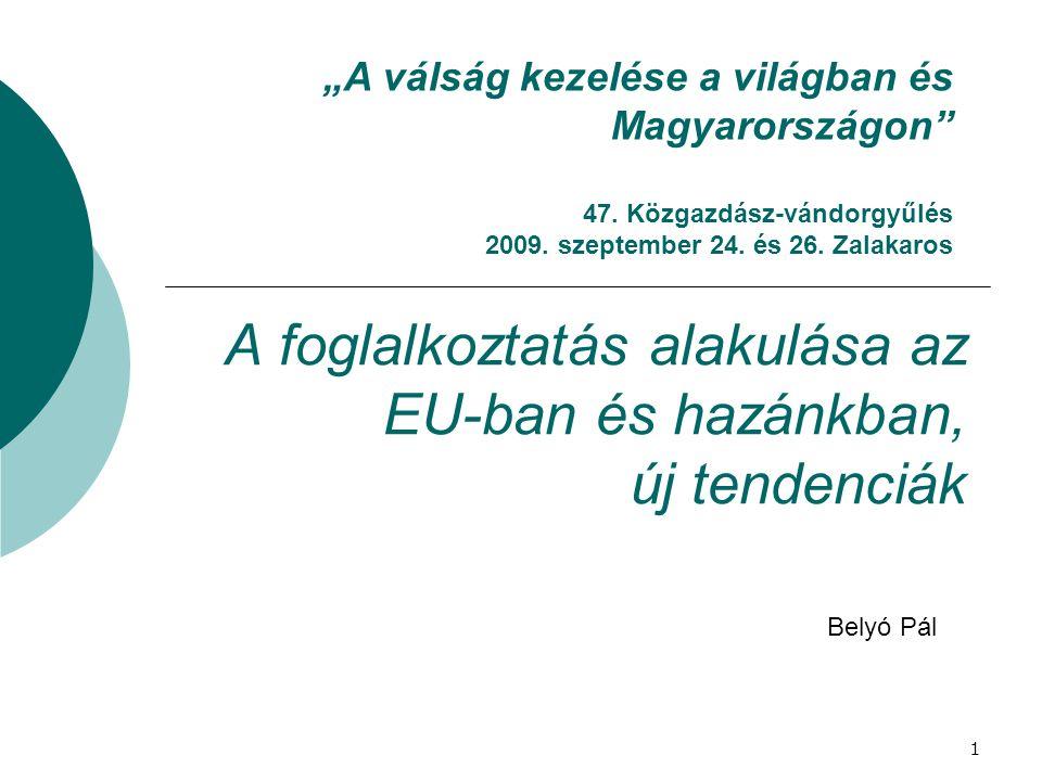 """A foglalkoztatás alakulása az EU-ban és hazánkban, új tendenciák Belyó Pál """"A válság kezelése a világban és Magyarországon"""" 47. Közgazdász-vándorgyűlé"""