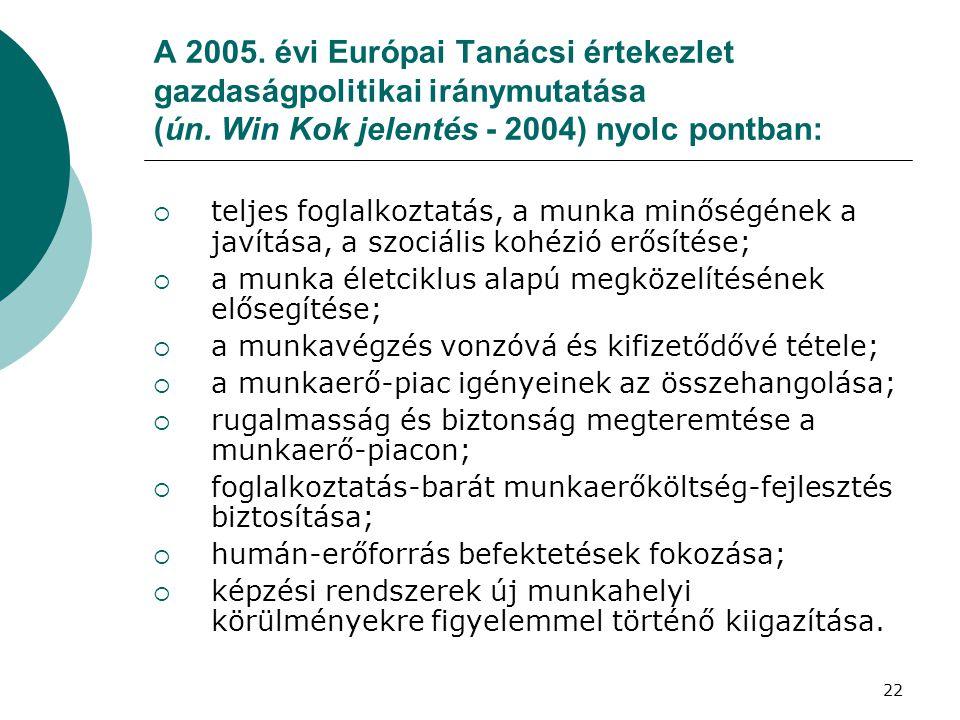 A 2005. évi Európai Tanácsi értekezlet gazdaságpolitikai iránymutatása (ún. Win Kok jelentés - 2004) nyolc pontban:  teljes foglalkoztatás, a munka m
