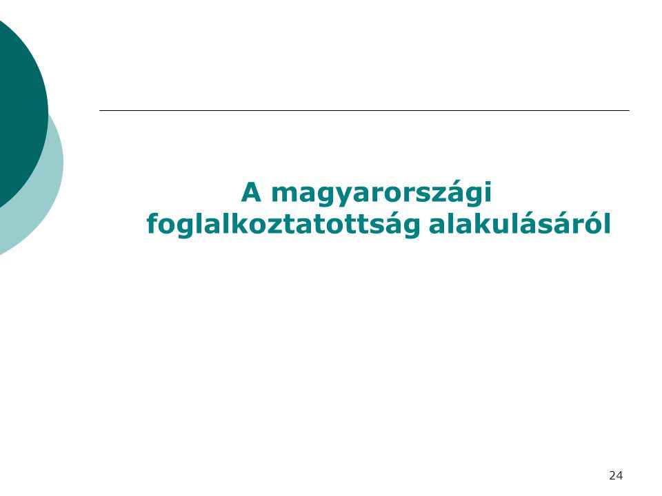 A magyarországi foglalkoztatottság alakulásáról 24