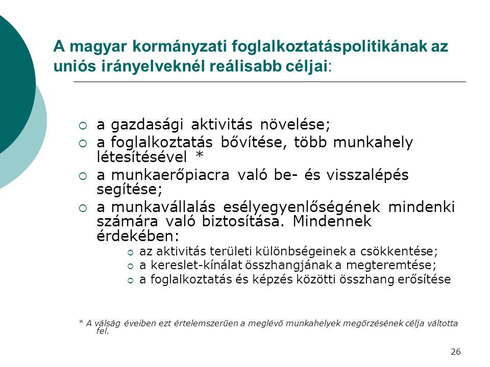 A magyar kormányzati foglalkoztatáspolitikának az uniós irányelveknél reálisabb céljai:  a gazdasági aktivitás növelése;  a foglalkoztatás bővítése, több munkahely létesítésével *  a munkaerőpiacra való be- és visszalépés segítése;  a munkavállalás esélyegyenlőségének mindenki számára való biztosítása.