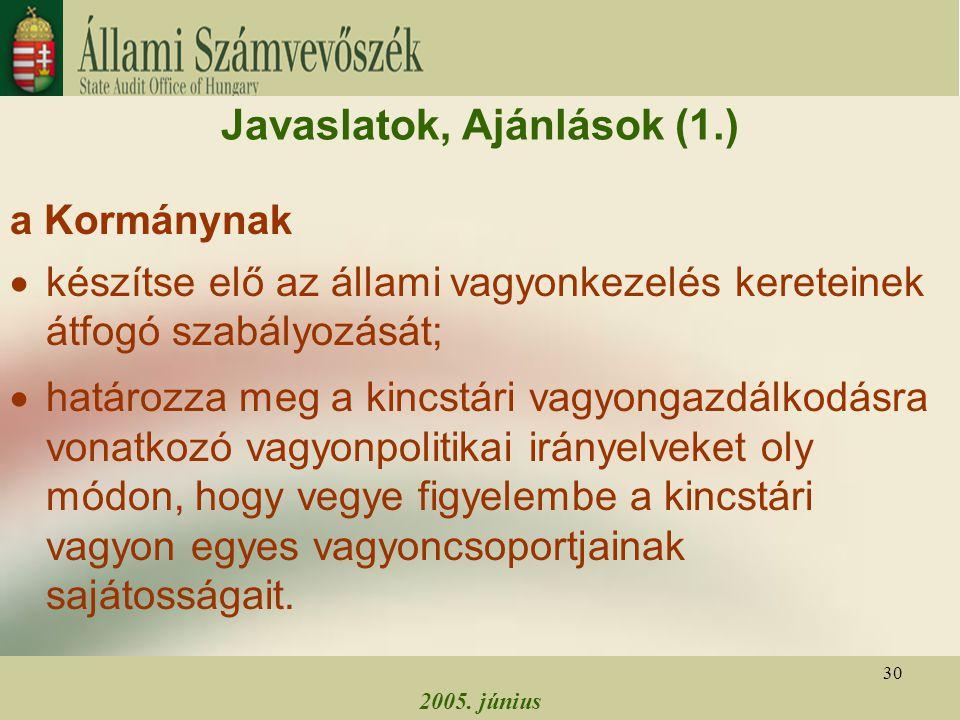 2005. június 30 Javaslatok, Ajánlások (1.) a Kormánynak  készítse elő az állami vagyonkezelés kereteinek átfogó szabályozását;  határozza meg a kinc