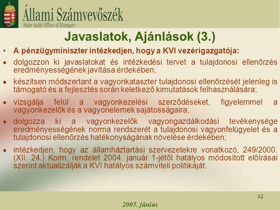 2005. június 32 Javaslatok, Ajánlások (3.) A pénzügyminiszter intézkedjen, hogy a KVI vezérigazgatója:  dolgozzon ki javaslatokat és intézkedési terv