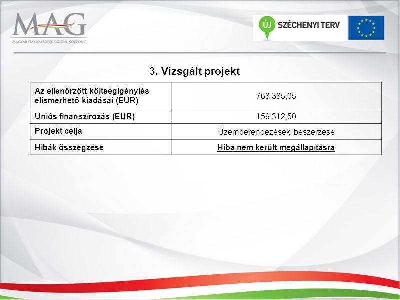 3. Vizsgált projekt Az ellenőrzött költségigénylés elismerhető kiadásai (EUR) 763 385,05 Uniós finanszírozás (EUR) 159 312,50 Projekt célja Üzemberend
