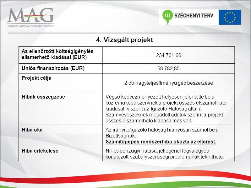 4. Vizsgált projekt Az ellenőrzött költségigénylés elismerhető kiadásai (EUR) 234 701,66 Uniós finanszírozás (EUR) 58 782,85 Projekt célja 2 db nagyte