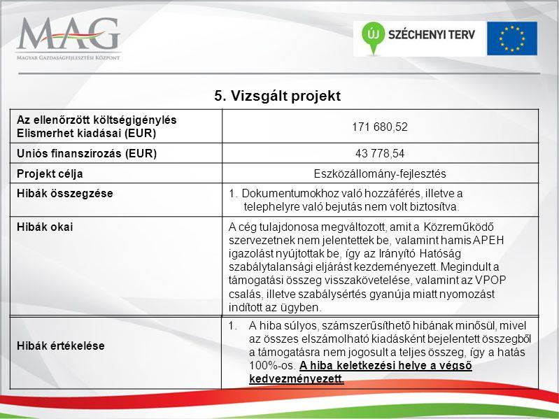 5. Vizsgált projekt Az ellenőrzött költségigénylés Elismerhet kiadásai (EUR) 171 680,52 Uniós finanszírozás (EUR) 43 778,54 Projekt célja Eszközállomá