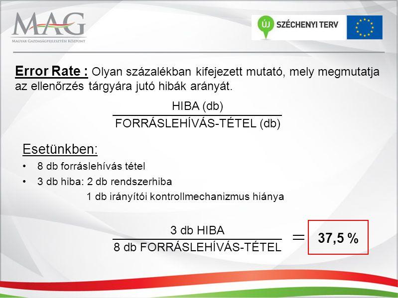Error Rate : Olyan százalékban kifejezett mutató, mely megmutatja az ellenőrzés tárgyára jutó hibák arányát. HIBA (db) FORRÁSLEHÍVÁS-TÉTEL (db) Esetün