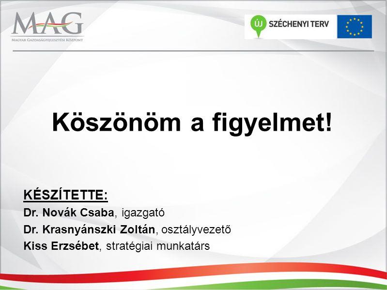 Köszönöm a figyelmet! KÉSZÍTETTE: Dr. Novák Csaba, igazgató Dr. Krasnyánszki Zoltán, osztályvezető Kiss Erzsébet, stratégiai munkatárs