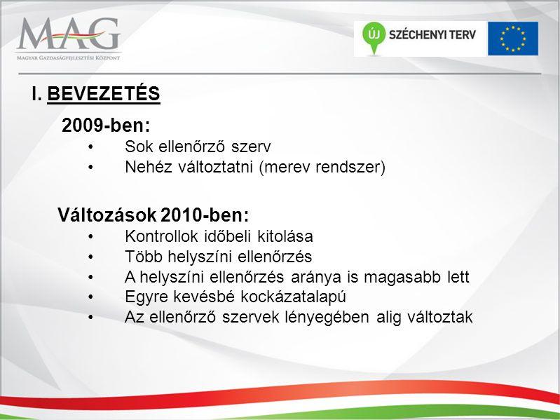 2009-ben: Sok ellenőrző szerv Nehéz változtatni (merev rendszer) Változások 2010-ben: Kontrollok időbeli kitolása Több helyszíni ellenőrzés A helyszín