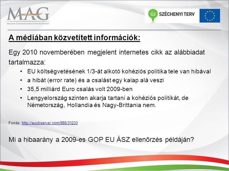 A médiában közvetített információk: Egy 2010 novemberében megjelent internetes cikk az alábbiadat tartalmazza: EU költségvetésének 1/3-át alkotó kohéziós politika tele van hibával a hibát (error rate) és a csalást egy kalap alá veszi 35,5 milliárd Euro csalás volt 2009-ben Lengyelország szinten akarja tartani a kohéziós politikát, de Németország, Hollandia és Nagy-Brittania nem.