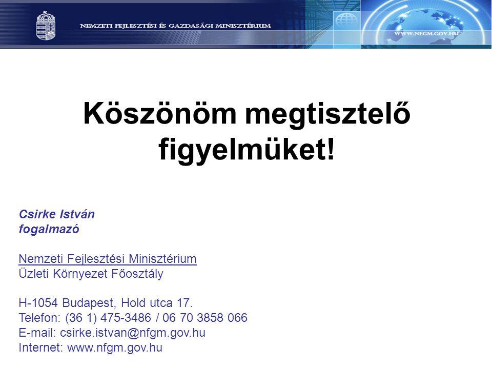 Köszönöm megtisztelő figyelmüket! Csirke István fogalmazó Nemzeti Fejlesztési Minisztérium Üzleti Környezet Főosztály H-1054 Budapest, Hold utca 17. T