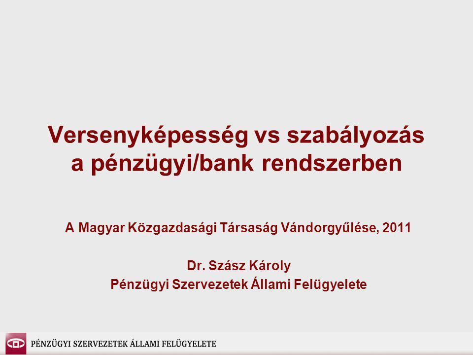 Versenyképesség vs szabályozás a pénzügyi/bank rendszerben A Magyar Közgazdasági Társaság Vándorgyűlése, 2011 Dr. Szász Károly Pénzügyi Szervezetek Ál
