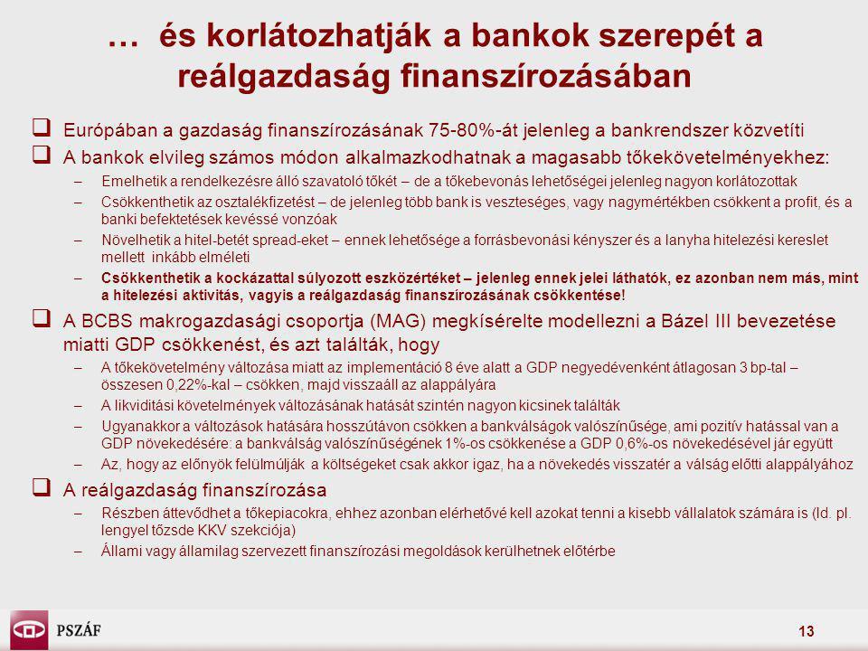 13  Európában a gazdaság finanszírozásának 75-80%-át jelenleg a bankrendszer közvetíti  A bankok elvileg számos módon alkalmazkodhatnak a magasabb t