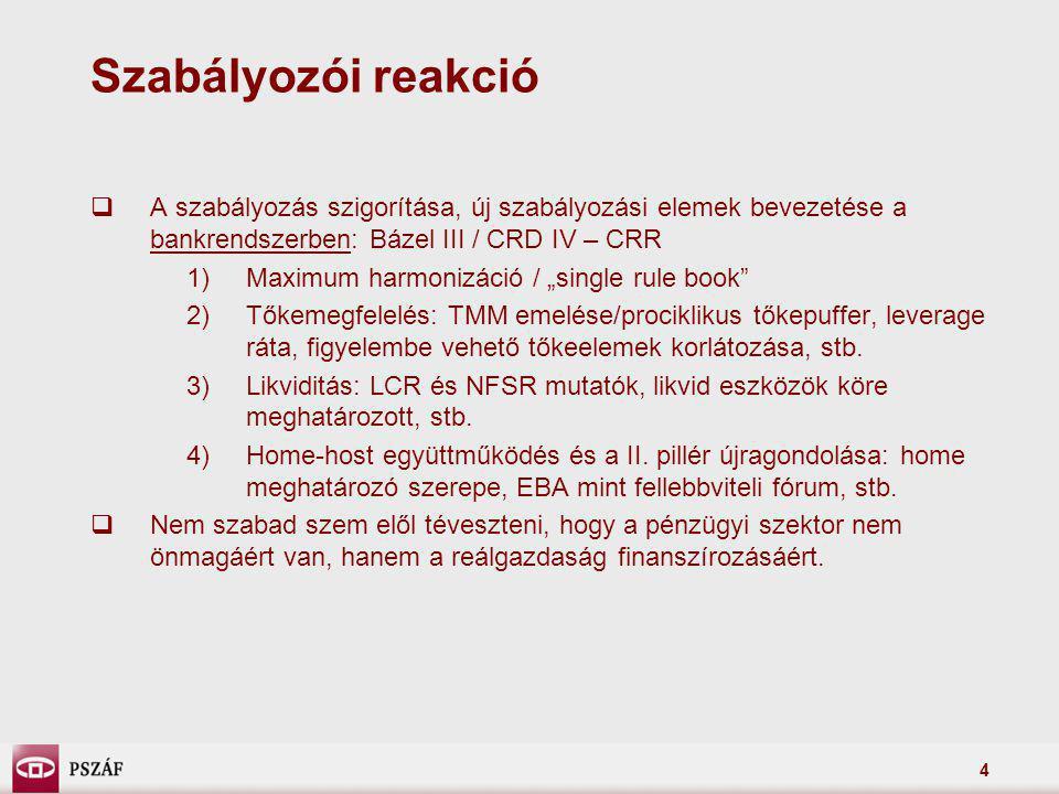 4 Szabályozói reakció  A szabályozás szigorítása, új szabályozási elemek bevezetése a bankrendszerben: Bázel III / CRD IV – CRR 1)Maximum harmonizáci