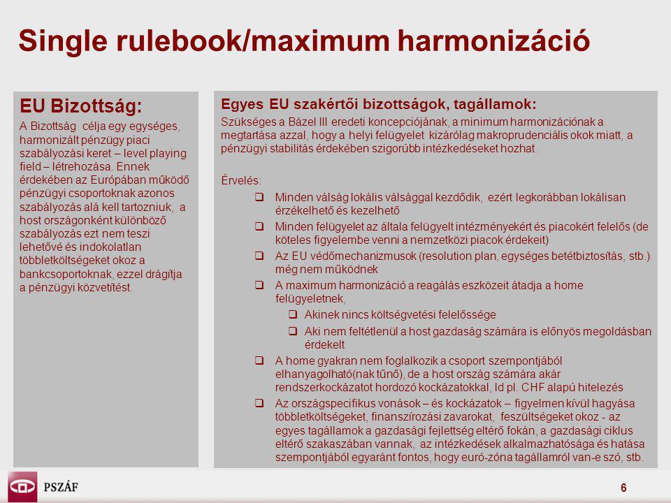 7 2) Tőkeszabályozás  Jelentős tőkeemelést ír elő a gazdasági ciklusnak egy olyan szakaszában, ahol a tőkebevonás korlátozott és/vagy extrém magas költségek mellett érhető el - a szabályozás egyre erősebben pro- ciklikus, ennek ellensúlyozására anticiklikus tőkepuffer  A rendszerkockázati szempontból jelentős bankok esetében ezen felül többlet tőkekövetelmény bevezetése  Szűkíti a tőkekövetelmény teljesítésében elismerhető tőkeelemek körét annak érdekében, hogy a veszteségek fedezésére azonnal és korlátozás nélkül felhasználható, minőségi tőkeelemek – core tier1 - aránya növekedjen  Tőkeáttételi mutatót vezet be Az EU Bizottság számításai szerint az európai bankok esetében mintegy 430 md EUR tőkeemelésre lenne szükség az új előírások teljesítéséhez.