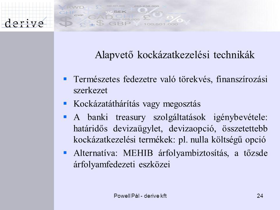 Powell Pál - derive kft24 Alapvető kockázatkezelési technikák  Természetes fedezetre való törekvés, finanszírozási szerkezet  Kockázatáthárítás vagy megosztás  A banki treasury szolgáltatások igénybevétele: határidős devizaügylet, devizaopció, összetettebb kockázatkezelési termékek: pl.