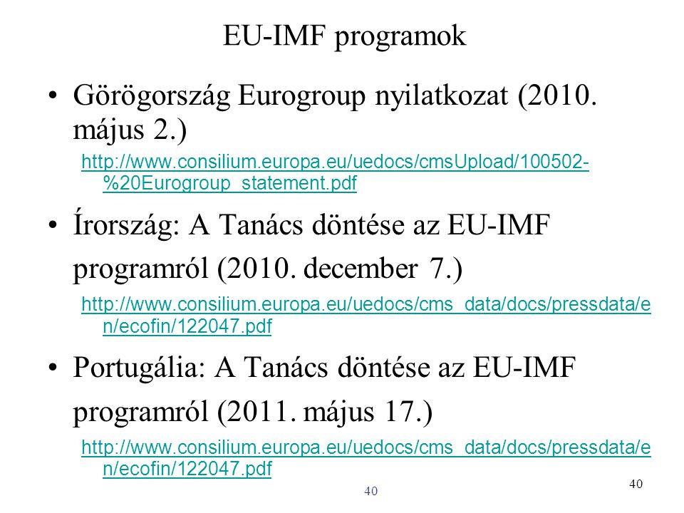 40 EU-IMF programok Görögország Eurogroup nyilatkozat (2010.