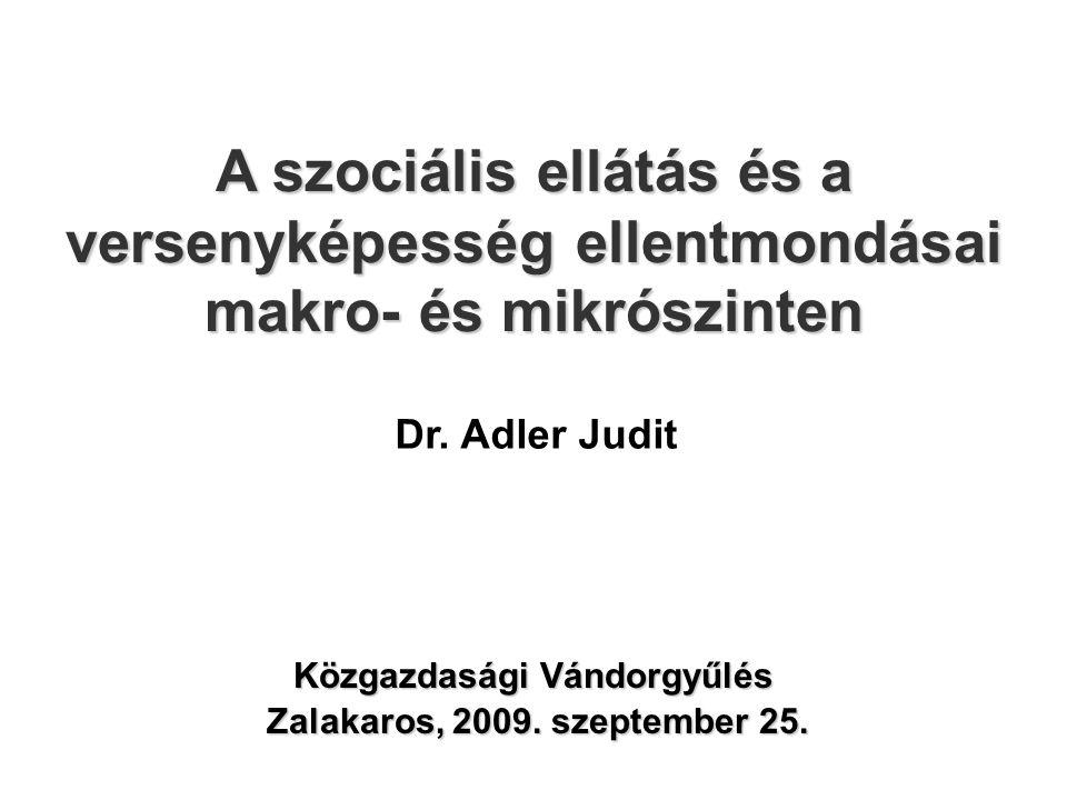 A szociális ellátás és a versenyképesség ellentmondásai makro- és mikrószinten Zalakaros, 2009. szeptember 25. Közgazdasági Vándorgyűlés Dr. Adler Jud
