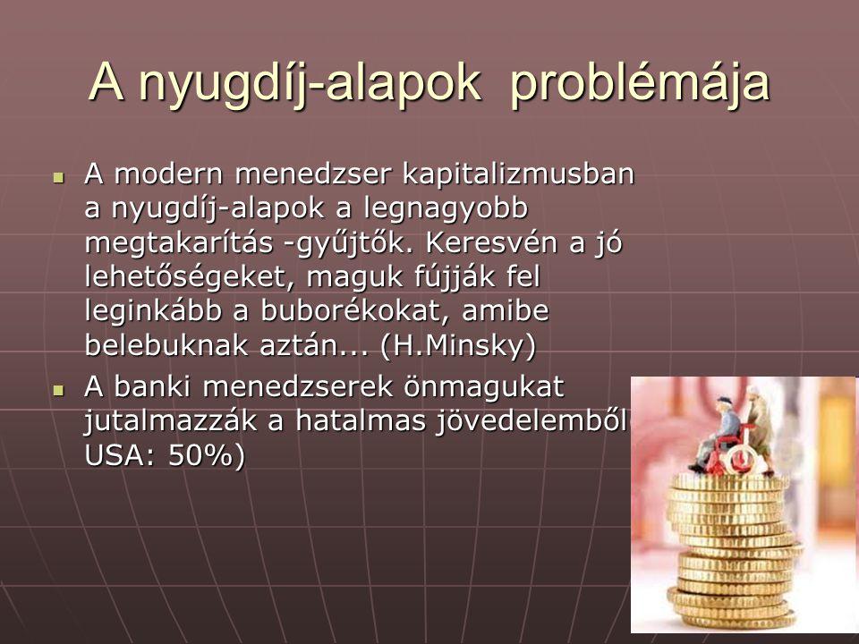 A nyugdíj-alapok problémája A modern menedzser kapitalizmusban a nyugdíj-alapok a legnagyobb megtakarítás -gyűjtők.