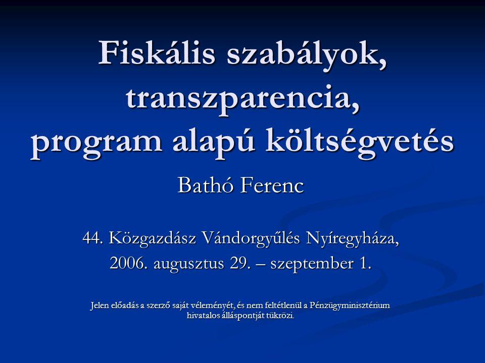 Fiskális szabályok, transzparencia, program alapú költségvetés Bathó Ferenc 44. Közgazdász Vándorgyűlés Nyíregyháza, 2006. augusztus 29. – szeptember