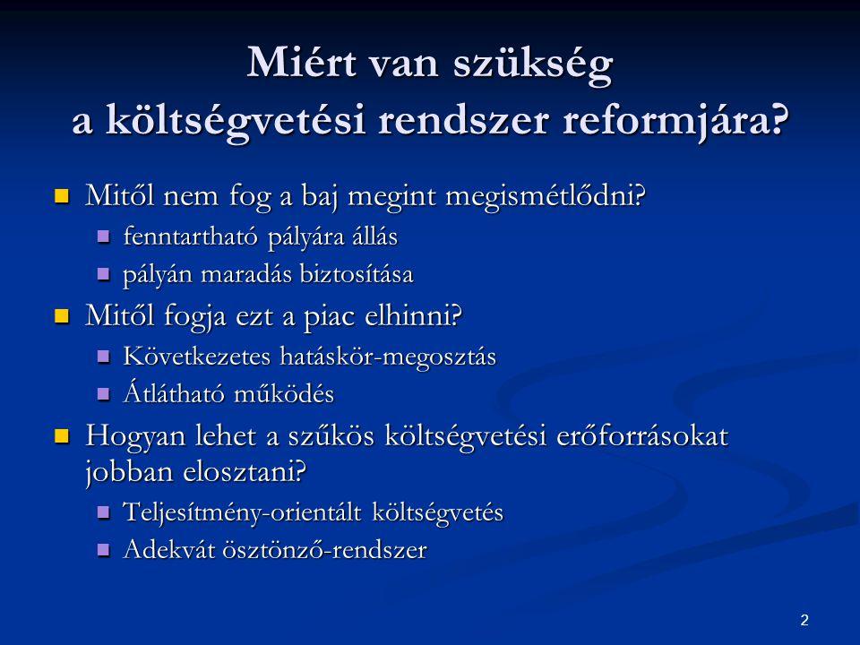 2 Miért van szükség a költségvetési rendszer reformjára.