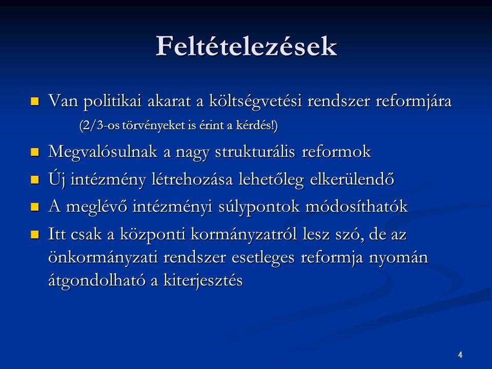 4 Feltételezések Van politikai akarat a költségvetési rendszer reformjára (2/3-os törvényeket is érint a kérdés!) Van politikai akarat a költségvetési rendszer reformjára (2/3-os törvényeket is érint a kérdés!) Megvalósulnak a nagy strukturális reformok Megvalósulnak a nagy strukturális reformok Új intézmény létrehozása lehetőleg elkerülendő Új intézmény létrehozása lehetőleg elkerülendő A meglévő intézményi súlypontok módosíthatók A meglévő intézményi súlypontok módosíthatók Itt csak a központi kormányzatról lesz szó, de az önkormányzati rendszer esetleges reformja nyomán átgondolható a kiterjesztés Itt csak a központi kormányzatról lesz szó, de az önkormányzati rendszer esetleges reformja nyomán átgondolható a kiterjesztés