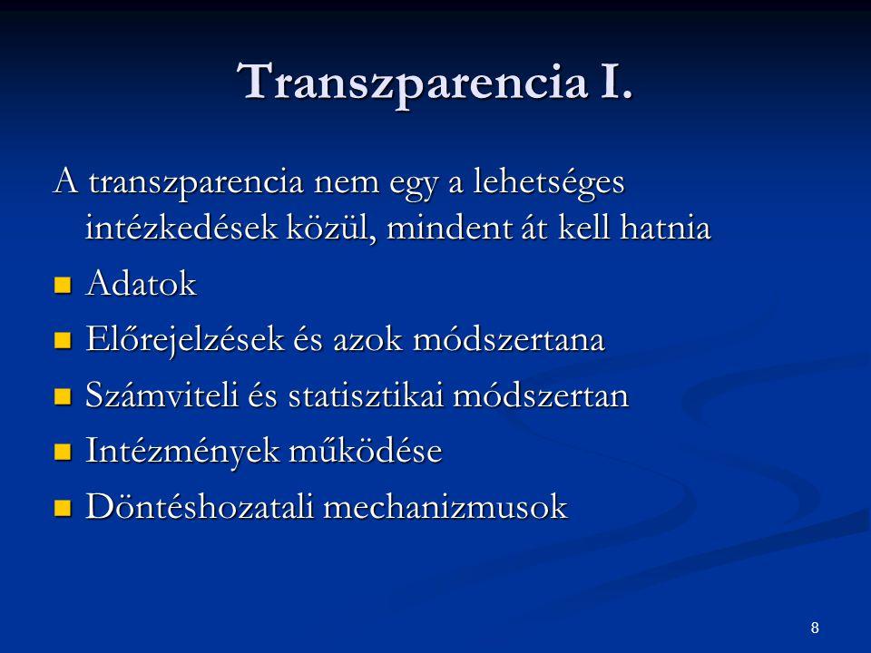 8 Transzparencia I. A transzparencia nem egy a lehetséges intézkedések közül, mindent át kell hatnia Adatok Adatok Előrejelzések és azok módszertana E
