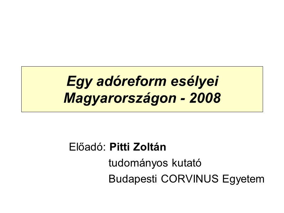 Egy adóreform esélyei Magyarországon - 2008 Előadó: Pitti Zoltán tudományos kutató Budapesti CORVINUS Egyetem