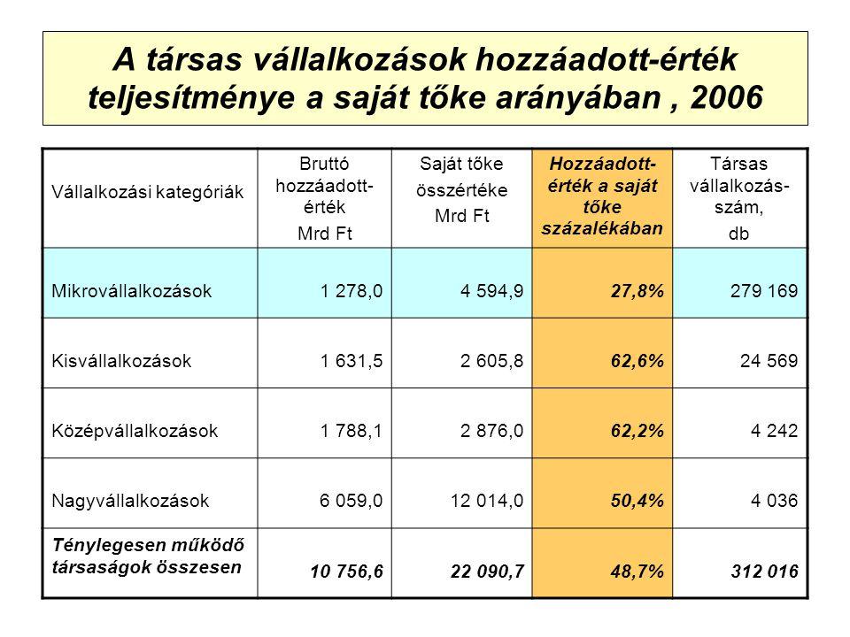A társas vállalkozások hozzáadott-érték teljesítménye a saját tőke arányában, 2006 Vállalkozási kategóriák Bruttó hozzáadott- érték Mrd Ft Saját tőke összértéke Mrd Ft Hozzáadott- érték a saját tőke százalékában Társas vállalkozás- szám, db Mikrovállalkozások1 278,04 594,927,8%279 169 Kisvállalkozások1 631,52 605,862,6%24 569 Középvállalkozások1 788,12 876,062,2%4 242 Nagyvállalkozások6 059,012 014,050,4%4 036 Ténylegesen működő társaságok összesen 10 756,622 090,748,7%312 016