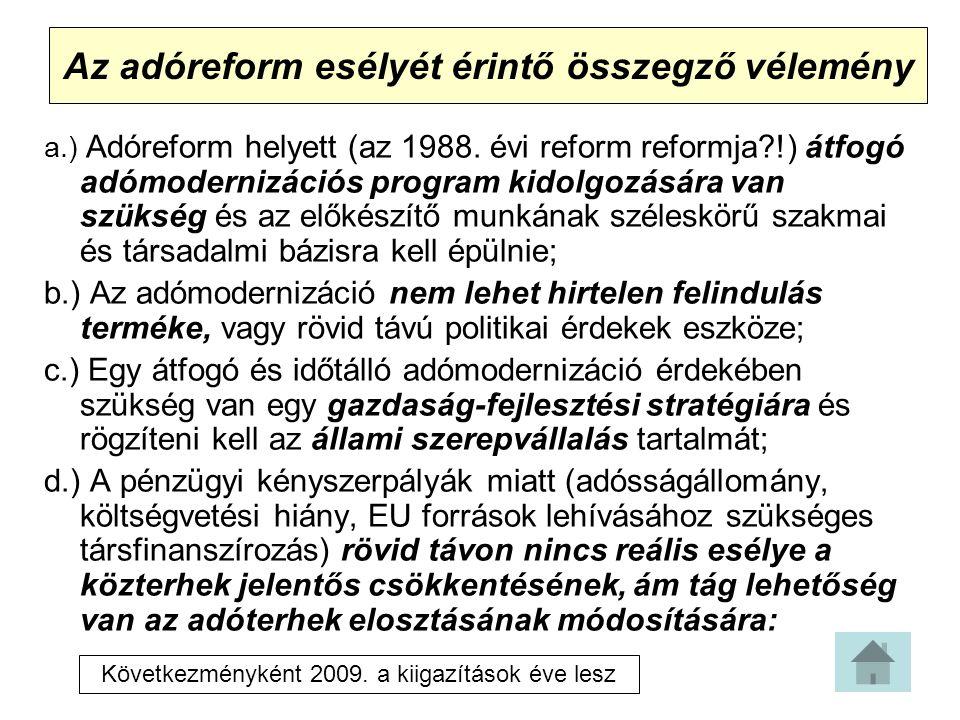 Az adóreform esélyét érintő összegző vélemény a.) Adóreform helyett (az 1988.
