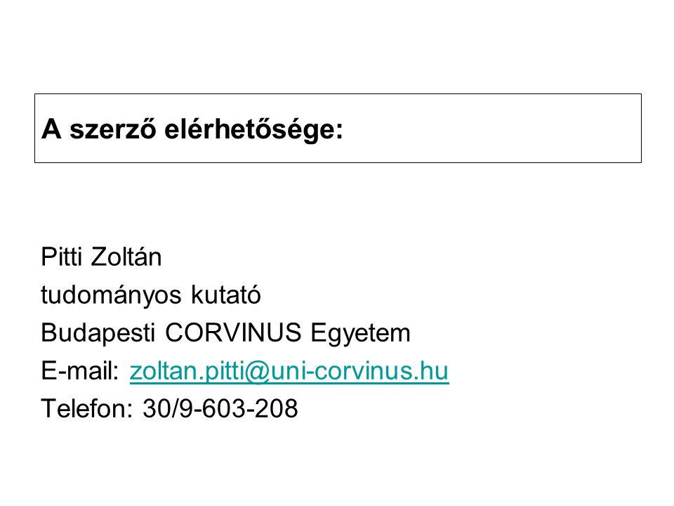 A szerző elérhetősége: Pitti Zoltán tudományos kutató Budapesti CORVINUS Egyetem E-mail: zoltan.pitti@uni-corvinus.huzoltan.pitti@uni-corvinus.hu Telefon: 30/9-603-208