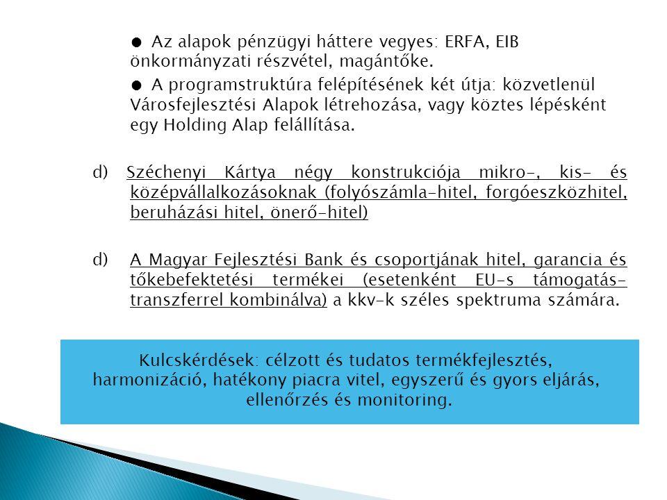 ● Az alapok pénzügyi háttere vegyes: ERFA, EIB önkormányzati részvétel, magántőke.