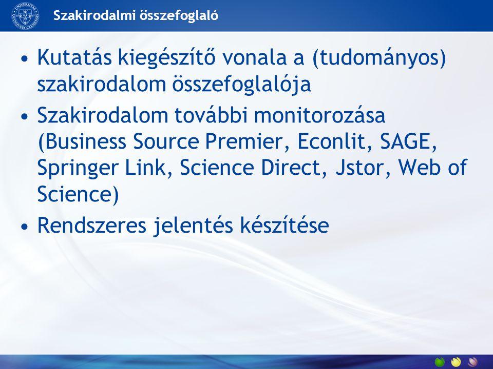 Szakirodalmi összefoglaló Kutatás kiegészítő vonala a (tudományos) szakirodalom összefoglalója Szakirodalom további monitorozása (Business Source Premier, Econlit, SAGE, Springer Link, Science Direct, Jstor, Web of Science) Rendszeres jelentés készítése