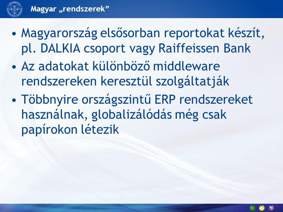 """Magyar """"rendszerek"""" Magyarország elsősorban reportokat készít, pl. DALKIA csoport vagy Raiffeissen Bank Az adatokat különböző middleware rendszereken"""