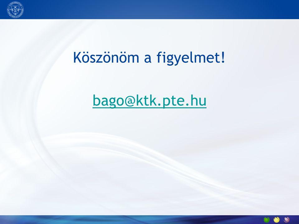 Köszönöm a figyelmet! bago@ktk.pte.hu