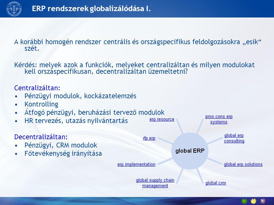 """ERP rendszerek globalizálódása I. A korábbi homogén rendszer centrális és országspecifikus feldolgozásokra """"esik"""" szét. Kérdés: melyek azok a funkciók"""