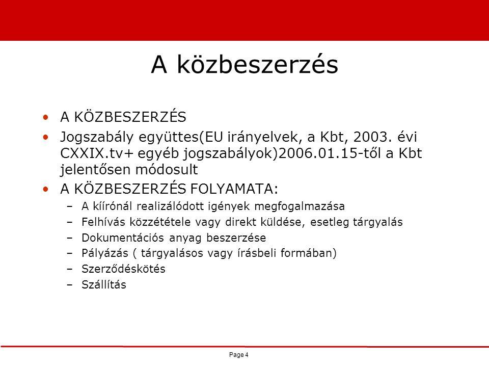 Page 4 A közbeszerzés A KÖZBESZERZÉS Jogszabály együttes(EU irányelvek, a Kbt, 2003. évi CXXIX.tv+ egyéb jogszabályok)2006.01.15-től a Kbt jelentősen