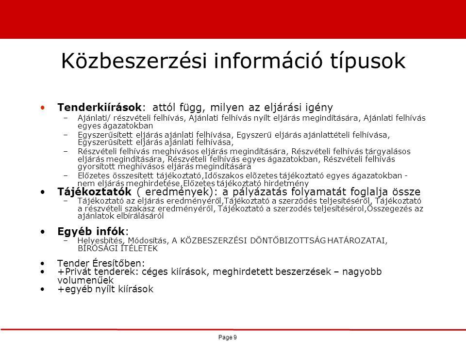 Page 9 Közbeszerzési információ típusok Tenderkiírások: attól függ, milyen az eljárási igény –Ajánlati/ részvételi felhívás, Ajánlati felhívás nyílt e