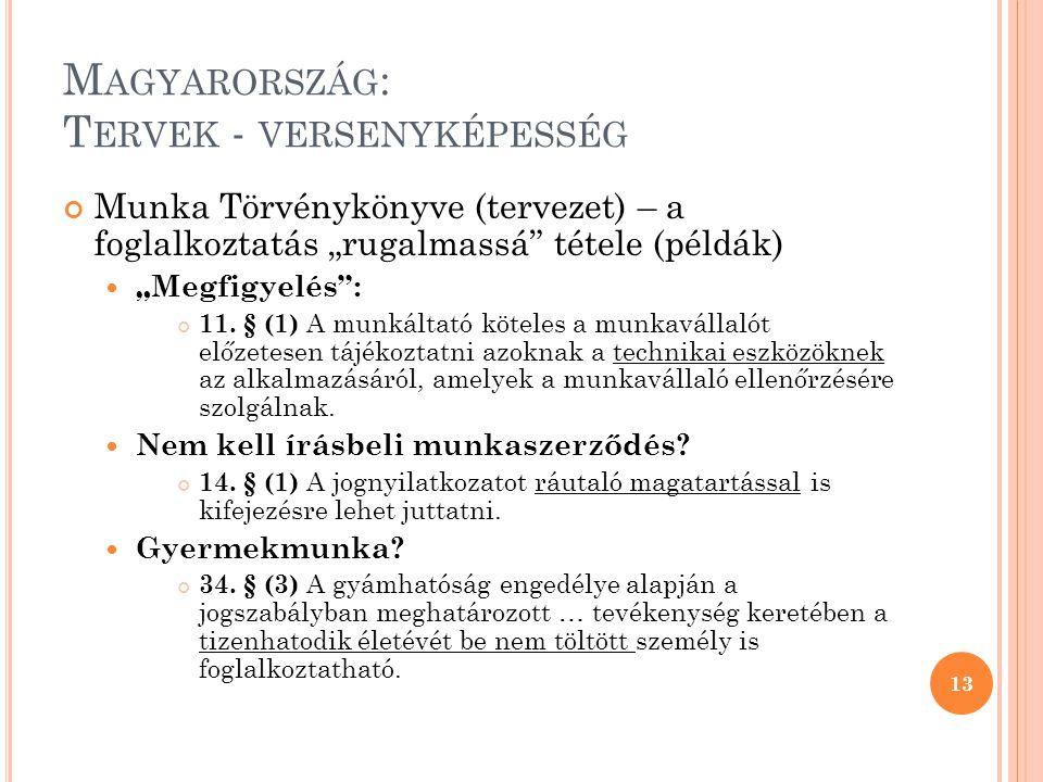 """M AGYARORSZÁG : T ERVEK - VERSENYKÉPESSÉG Munka Törvénykönyve (tervezet) – a foglalkoztatás """"rugalmassá tétele (példák) """"Megfigyelés : 11."""