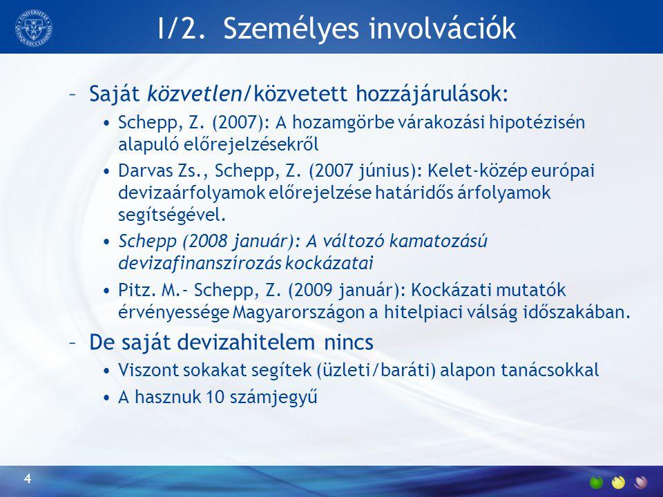 I/2.Személyes involvációk –Saját közvetlen/közvetett hozzájárulások: Schepp, Z.