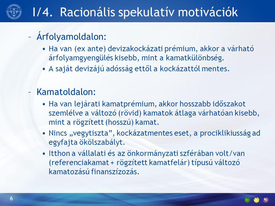 I/4. Racionális spekulatív motivációk –Árfolyamoldalon: Ha van (ex ante) devizakockázati prémium, akkor a várható árfolyamgyengülés kisebb, mint a kam