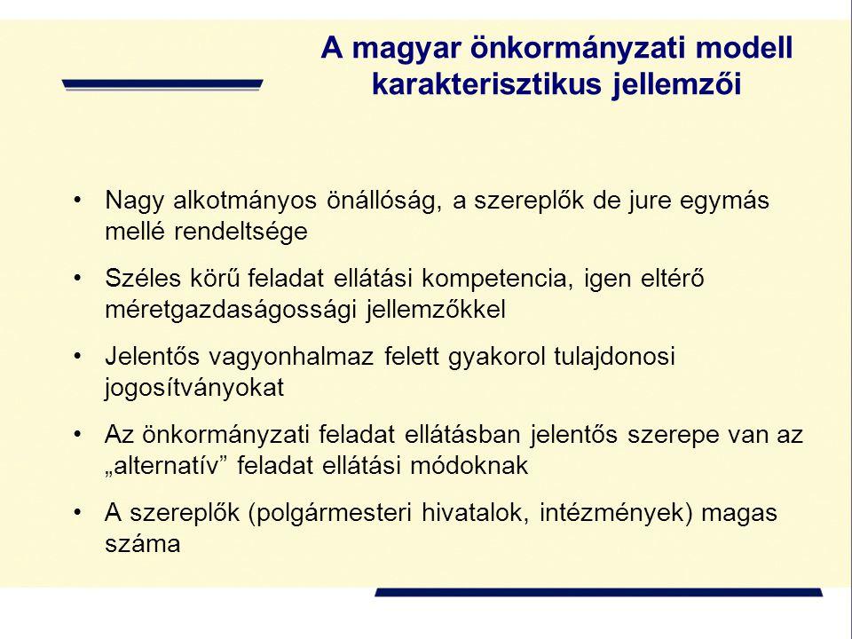 A magyar önkormányzati modell karakterisztikus jellemzői Nagy alkotmányos önállóság, a szereplők de jure egymás mellé rendeltsége Széles körű feladat