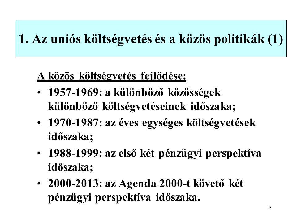3 1. Az uniós költségvetés és a közös politikák (1) A közös költségvetés fejlődése: 1957-1969: a különböző közösségek különböző költségvetéseinek idős