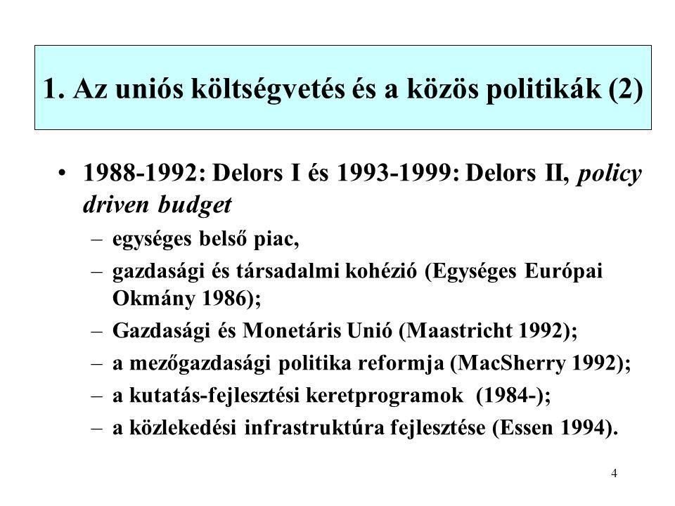 4 1. Az uniós költségvetés és a közös politikák (2) 1988-1992: Delors I és 1993-1999: Delors II, policy driven budget –egységes belső piac, –gazdasági