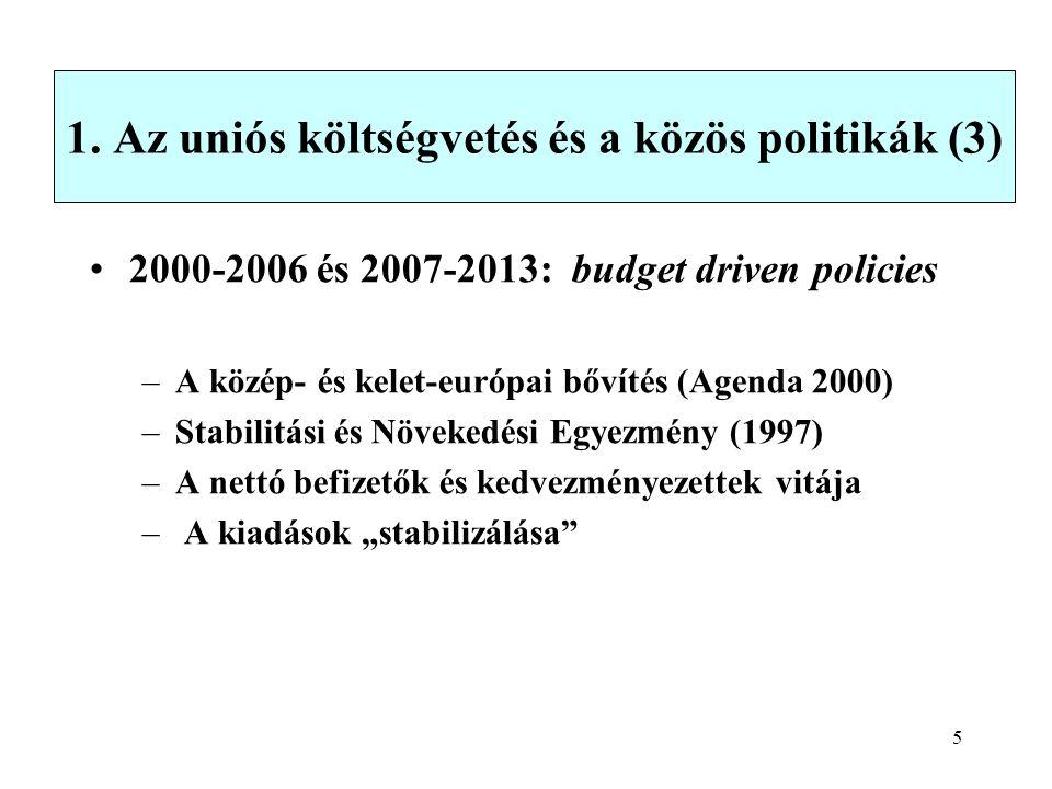 5 1. Az uniós költségvetés és a közös politikák (3) 2000-2006 és 2007-2013: budget driven policies –A közép- és kelet-európai bővítés (Agenda 2000) –S