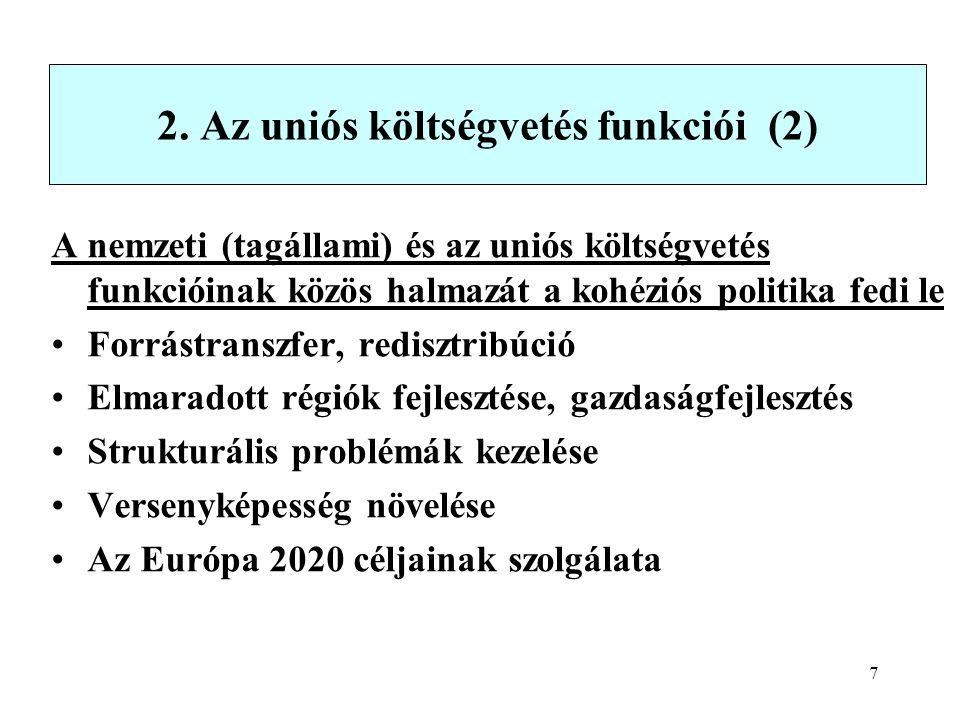 7 2. Az uniós költségvetés funkciói (2) A nemzeti (tagállami) és az uniós költségvetés funkcióinak közös halmazát a kohéziós politika fedi le Forrástr