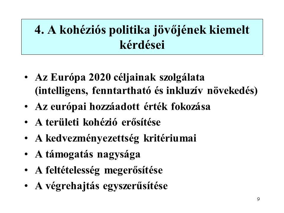 9 Az Európa 2020 céljainak szolgálata (intelligens, fenntartható és inkluzív növekedés) Az európai hozzáadott érték fokozása A területi kohézió erősítése A kedvezményezettség kritériumai A támogatás nagysága A feltételesség megerősítése A végrehajtás egyszerűsítése 4.