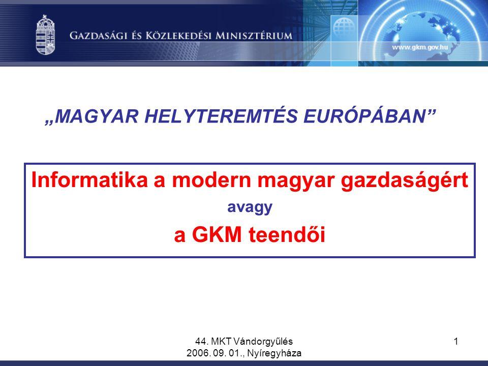 """44. MKT Vándorgyűlés 2006. 09. 01., Nyíregyháza 1 """"MAGYAR HELYTEREMTÉS EURÓPÁBAN"""" Informatika a modern magyar gazdaságért avagy a GKM teendői"""