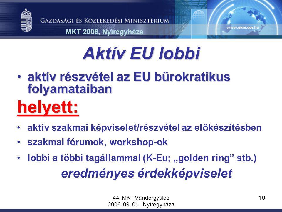 44. MKT Vándorgyűlés 2006. 09. 01., Nyíregyháza 10 Aktív EU lobbi aktív részvétel az EU bürokratikus folyamataibanaktív részvétel az EU bürokratikus f